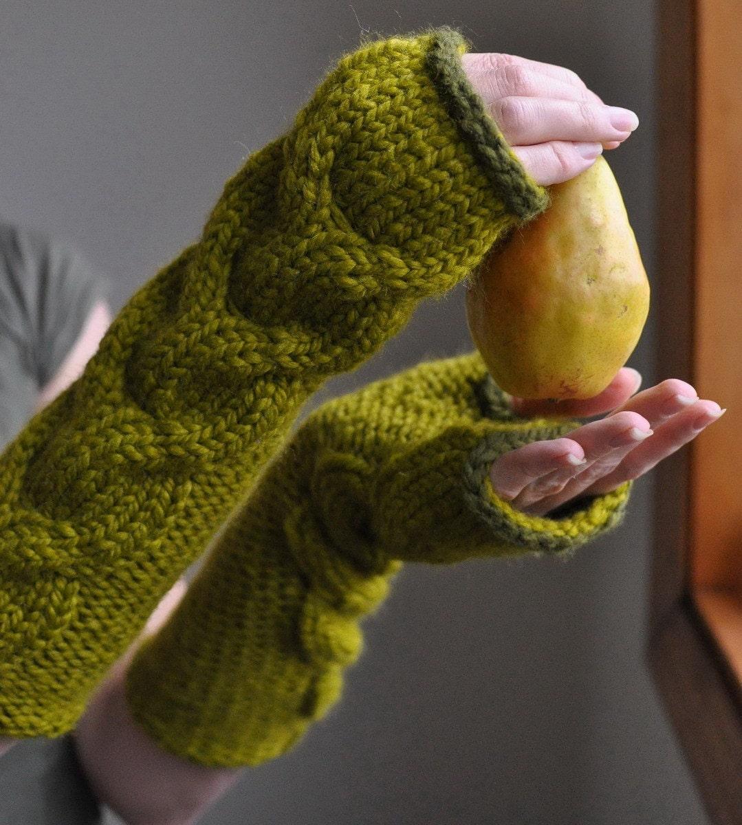 Freezebaby Рукавицы - супер коренастый handknit удлиненные перчатки без пальцев / варежки в лимонника также Индивидуальные заказы в других цветах