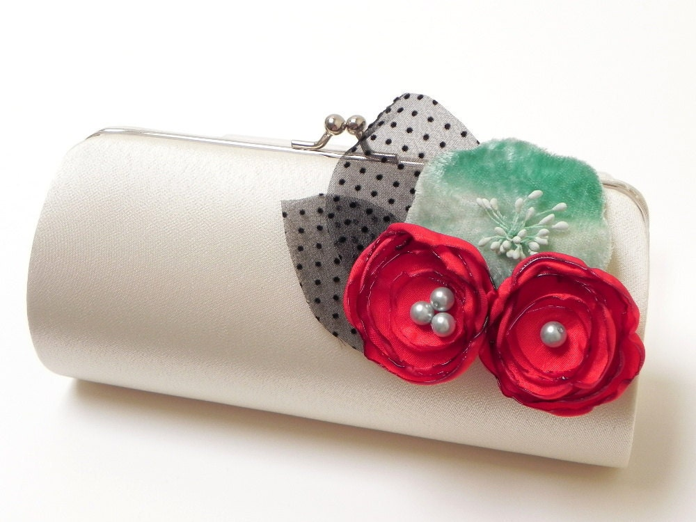 Bridal Clutch Bridesmaidf Clutch Rockabilly Retro Clutch in Ivory - Cherry Red & Velvet Aqua Flower Blooms - Bouquet Clutch - 50's Glam - FallenSparrow
