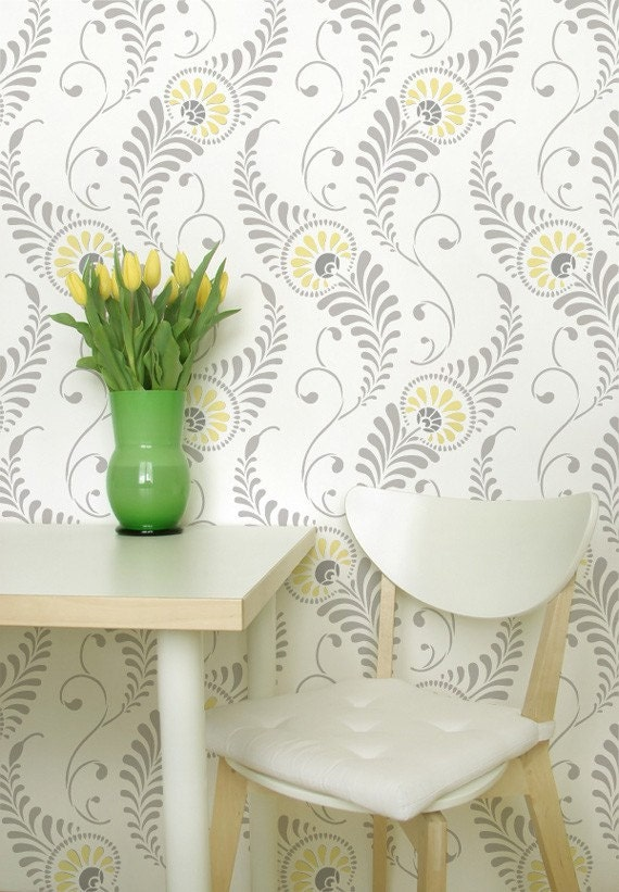 Large Wall Stencil Pattern Feathered Damask Allover Stencil for Painted Wallpaper Look - royaldesignstencils