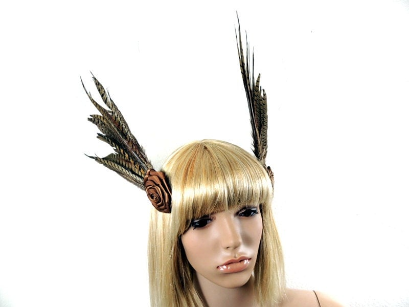 Steampunk Fascinator (2 parts) with brown/Black pheasant feather Goth headdress - NinielChan