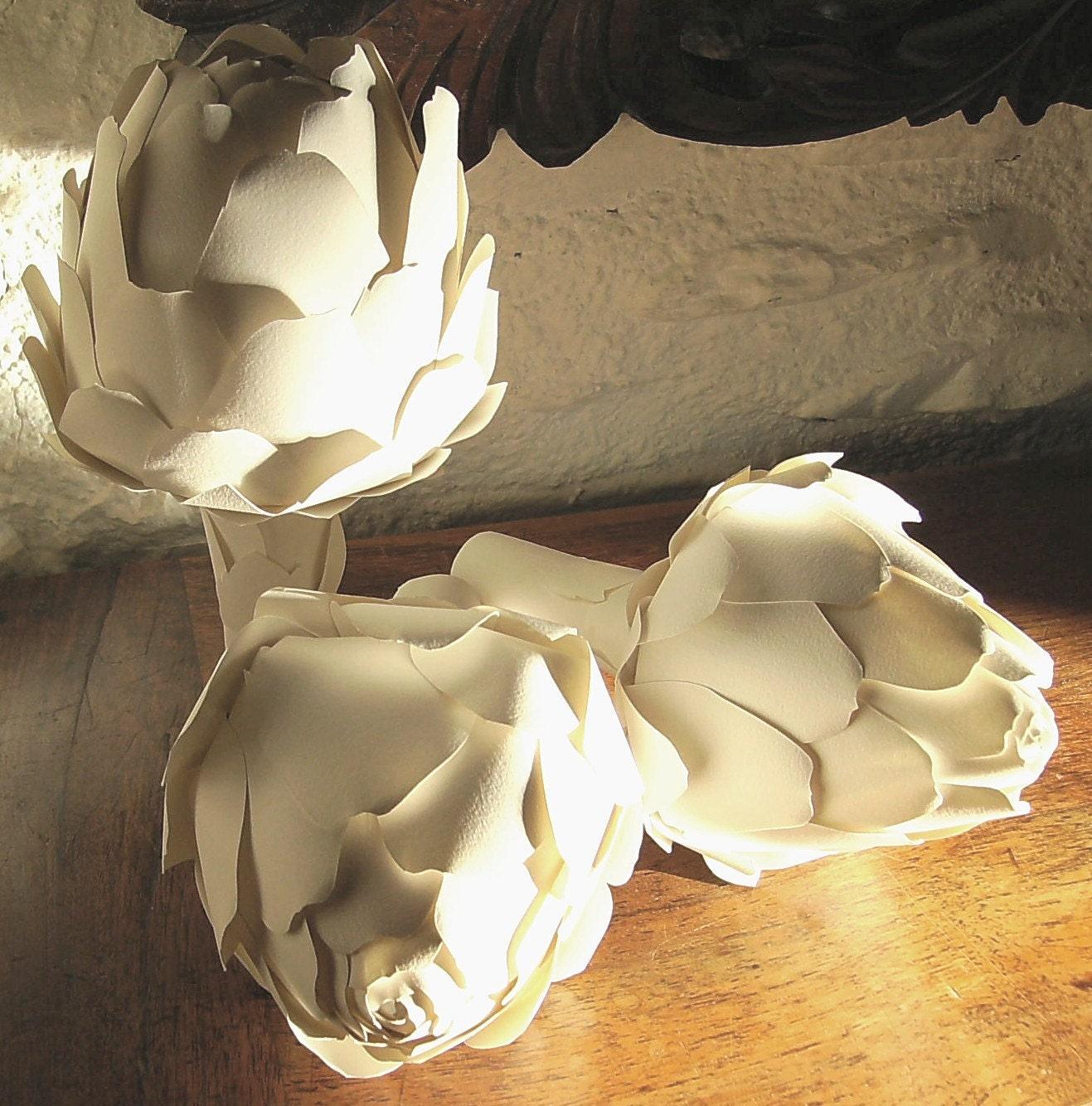 Artichokes, paper sculpture
