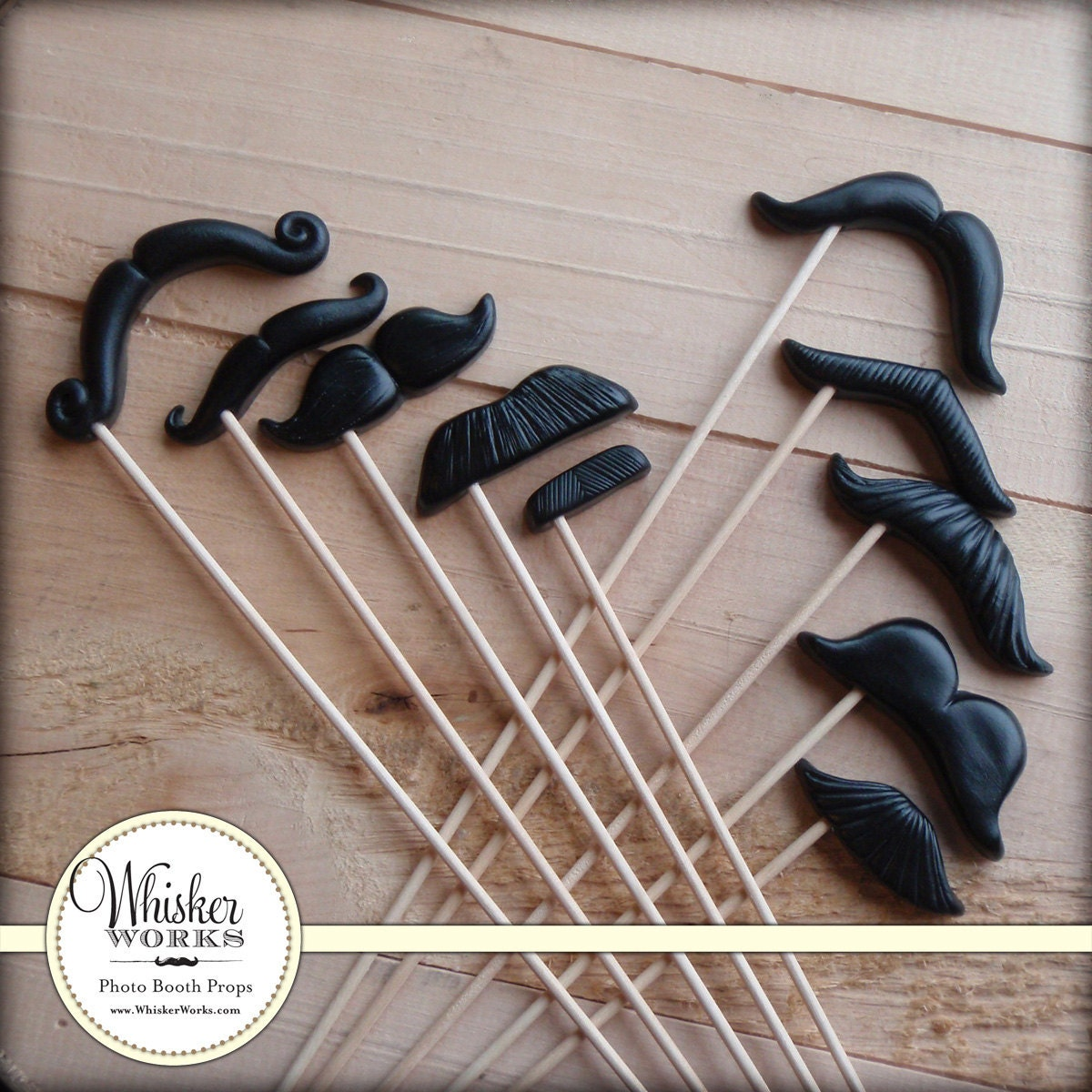 Plastic Mustaches on Sticks - The Evening Soiree - Set of 10