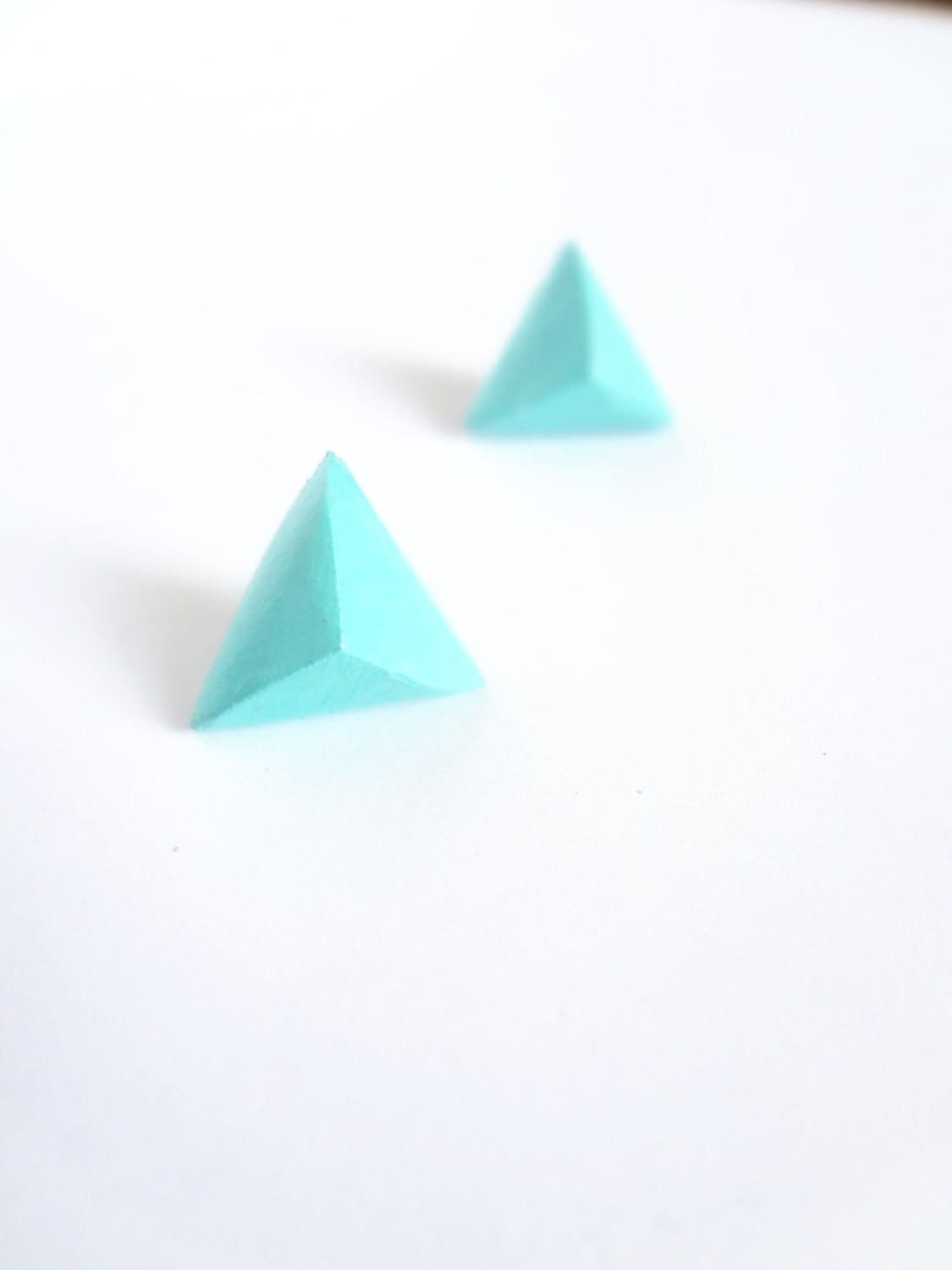 turquoise mint green geometric diamond triangle earrings - thefrenchboheme