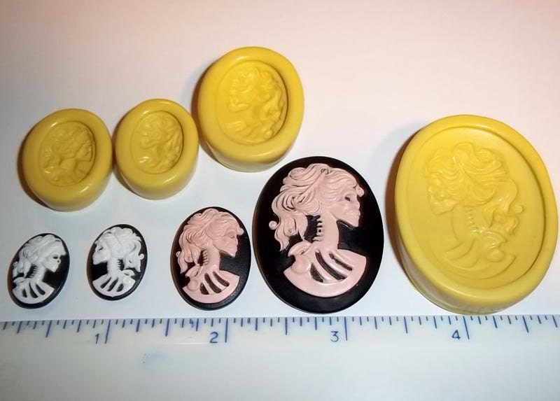 Lolita Skeleton Cameo Flexible Mold Set of 4 Moulds For Resin Paper Clay Sculpey Fimo Polymer Premo Wax Chocolate J311