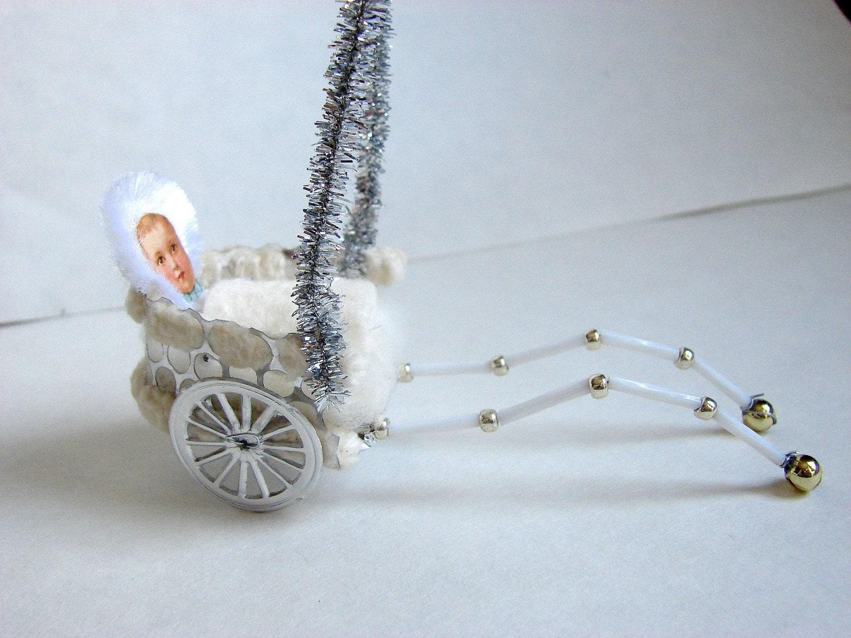 Baby Rickshaw Christmas Ornament German Sebnitz Vintage Inspired - saintNICHOLAStoo