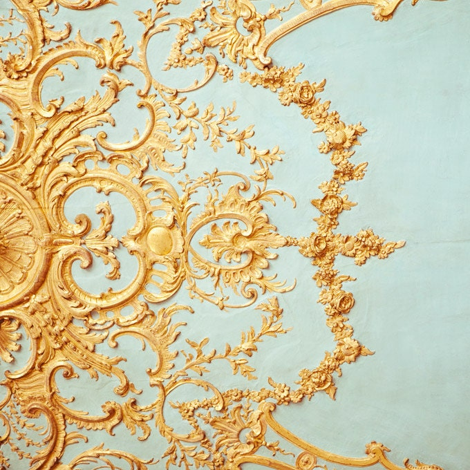 Folie - Paris Photograph, Versailles Detail, Romantic, Feminine, Robins Egg Blue, Gold, Home Decor