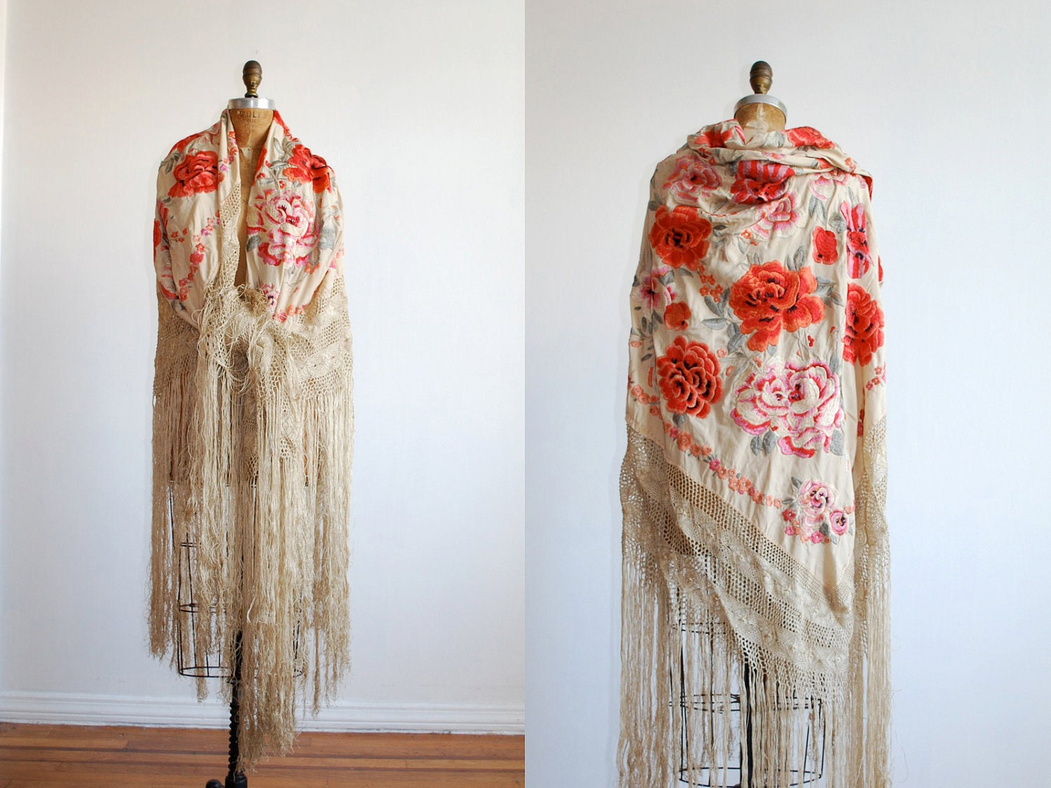Image of an antique silken shawl in the Edwardian and Victorian fashion