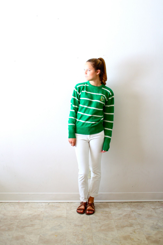 Vintage letterman B stripe yellow sweater - ThisVintageGirl