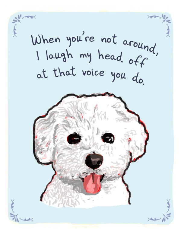 Bichon 8x10 Print of Original Painting with phrase