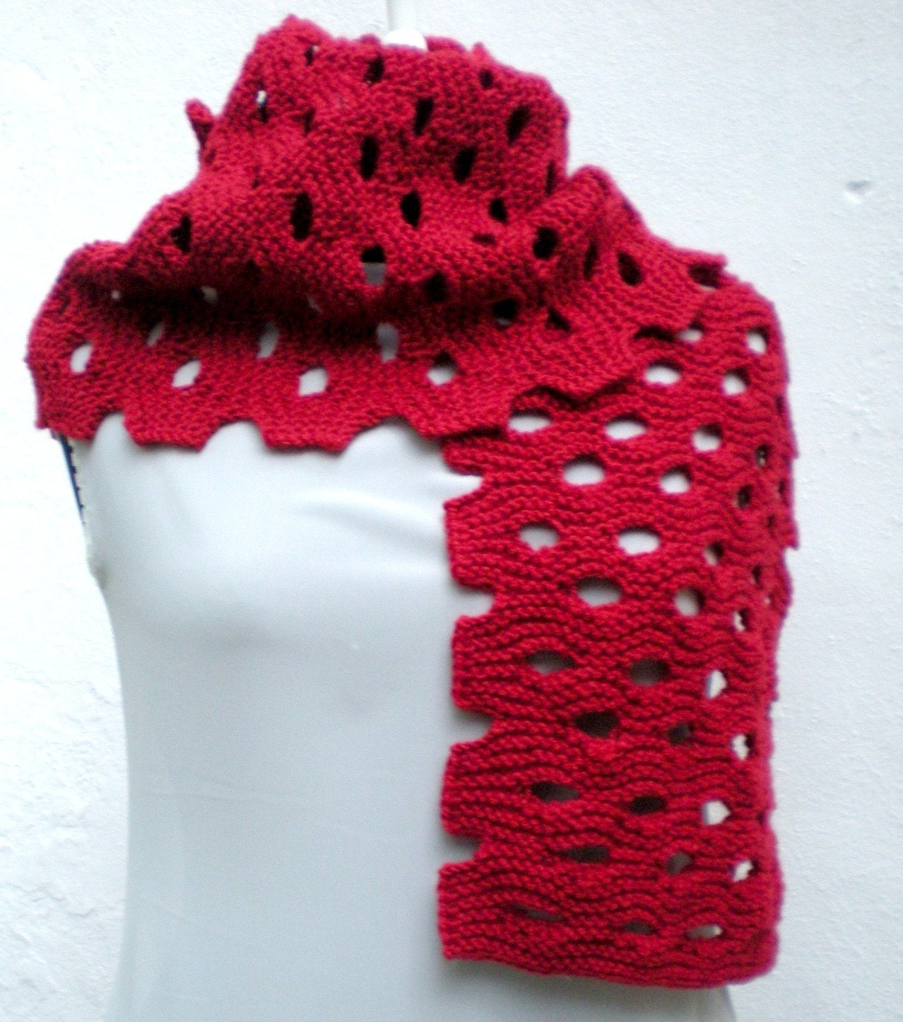 Knitting Hand Knitted  Red  Shawl  Scarf  ready to ship