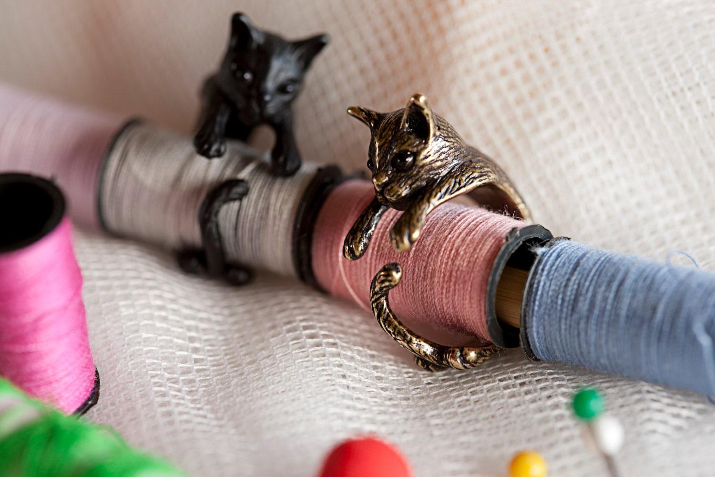 KopoMetal handmade cat ring black / silver / golden colour