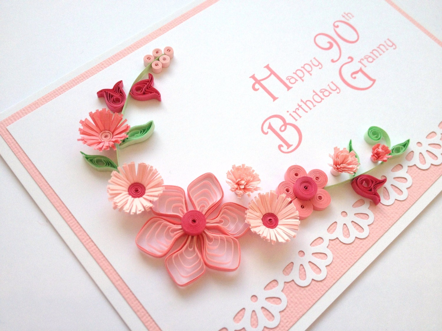 Paper Quilling 90th Birthday Card Quilled Handmade By Joscinta
