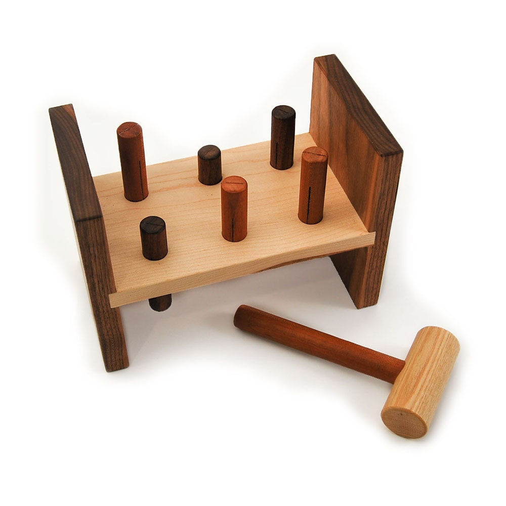 Hammer Toy - organic wood peg pounding kids tool bench toy