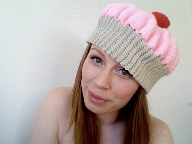 Pink crochet cupcake hat - ADULT size large.