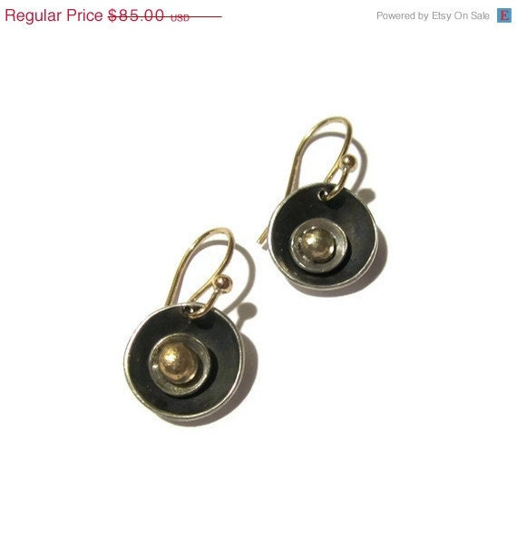Oxidized Silver Gold Earrings Black Earrings, Circle Earrings - sheriberyl