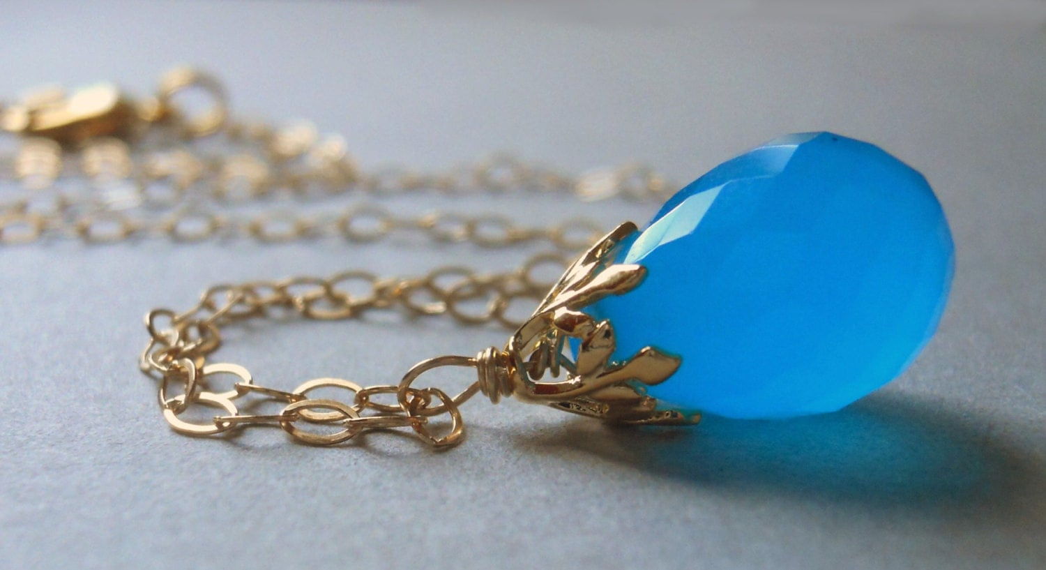 Fresh Air Bright Blue Chalcedony Teardrop necklace Gold - $62.00 USD