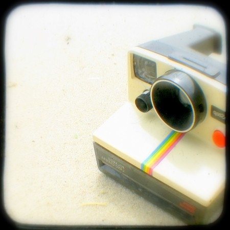 One Step Polaroid Camera Photo 4x4 TtV Photography Print Nostalgic Summer Retro Camera Photograph Home Decor Art Print, Rainbow Stripe