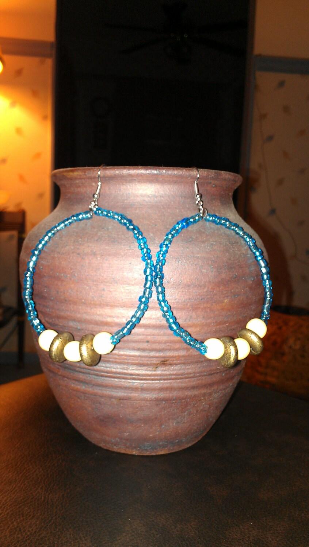 "Caribbean Blue and Wooden Beaded Hoop Earrings: ""Island Breeze"""