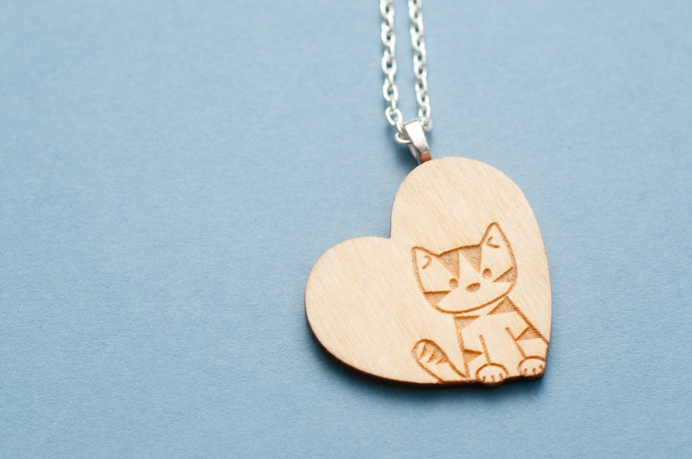 Wooden Love Cat Necklace