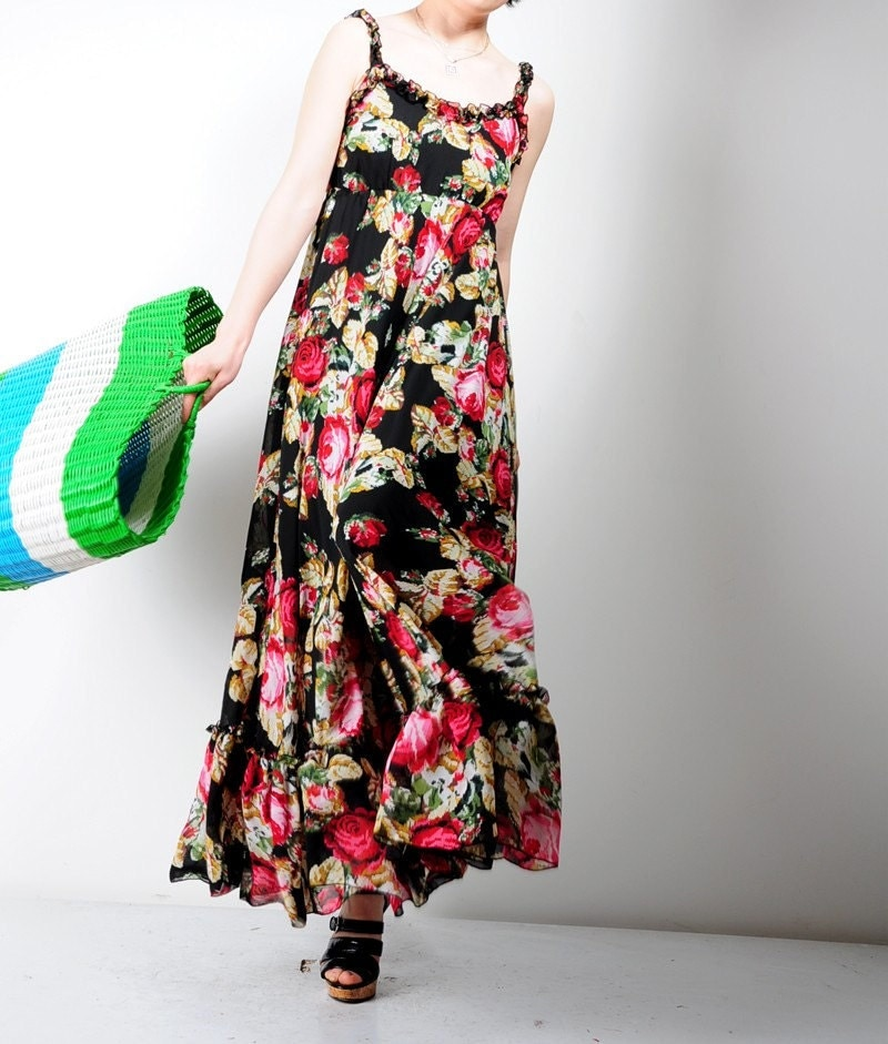 Sexy Black Red Floral Chiffon Flounce Fairy Maxi Dress Gown Sleeveless