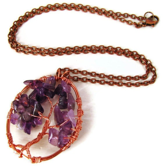 Gemstone Tree Necklace Copper Wire Wrapped -Gem Tree of Life - heversonart