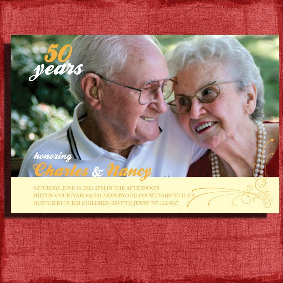 Printable 50th Wedding Anniversary Invitation 4x6 InvitationDIY