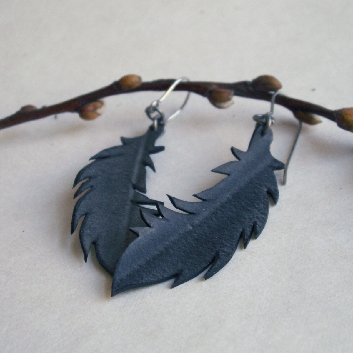 Black Feather Earrings - eco friendly jewelry - upcycled bicycle inner tube - Gloomstopper