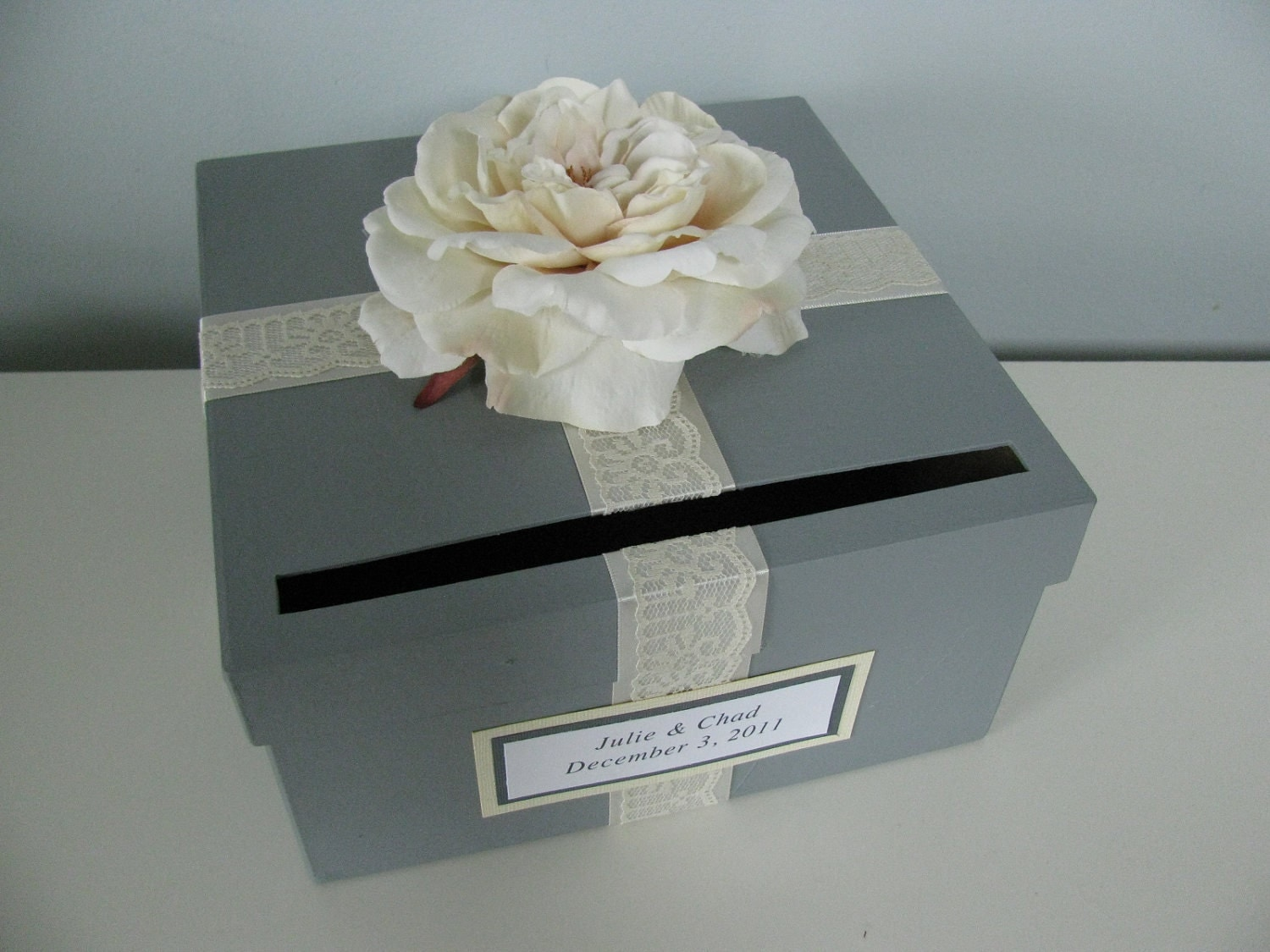Gray Wedding Card Box Ivory Lace Personalized Tag You Can Customize Small 9 inch Bridal Shower Engagement Anniversary