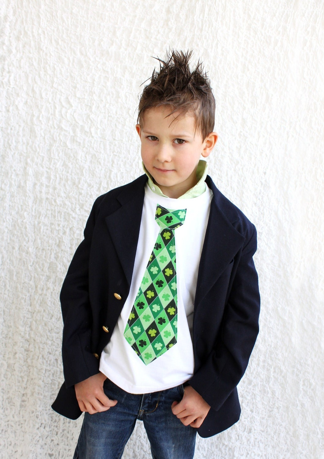 NEW St. Patrick's Day 2012 Tie Tee T-Shirt.  Any St. Patty Day Tie Fabric.  Green Argyle, Stripes, Plaid, Polka Dot, Clover, Shamrock.