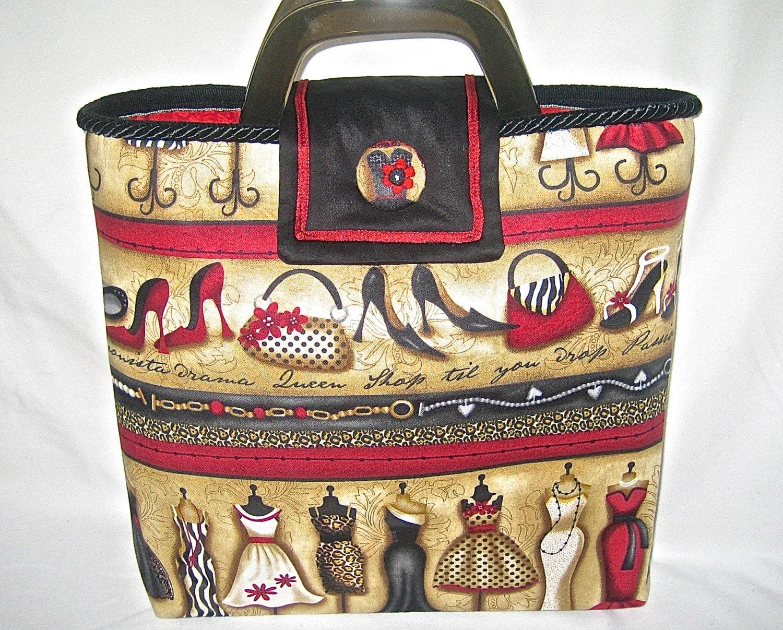 Red, Black & Neutrals Handmade Fabric Tote, Shoulder Bag, Bucket Bag, Shoes, Dresses, Handbags. Fashionista Fabric