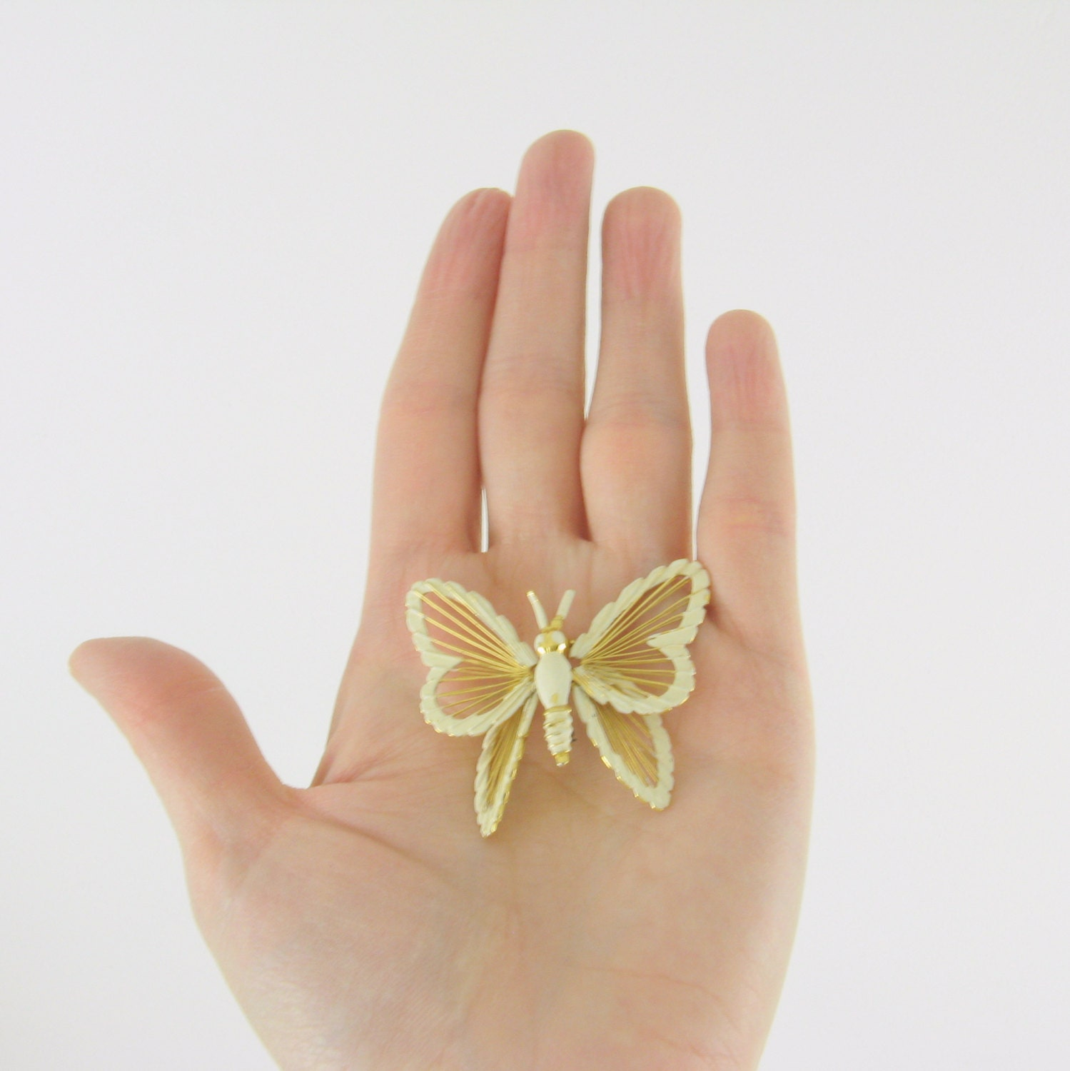 Vintage Monet Butterfly Brooch - 1960s Gold and Cream Enamel - TwoMoxie