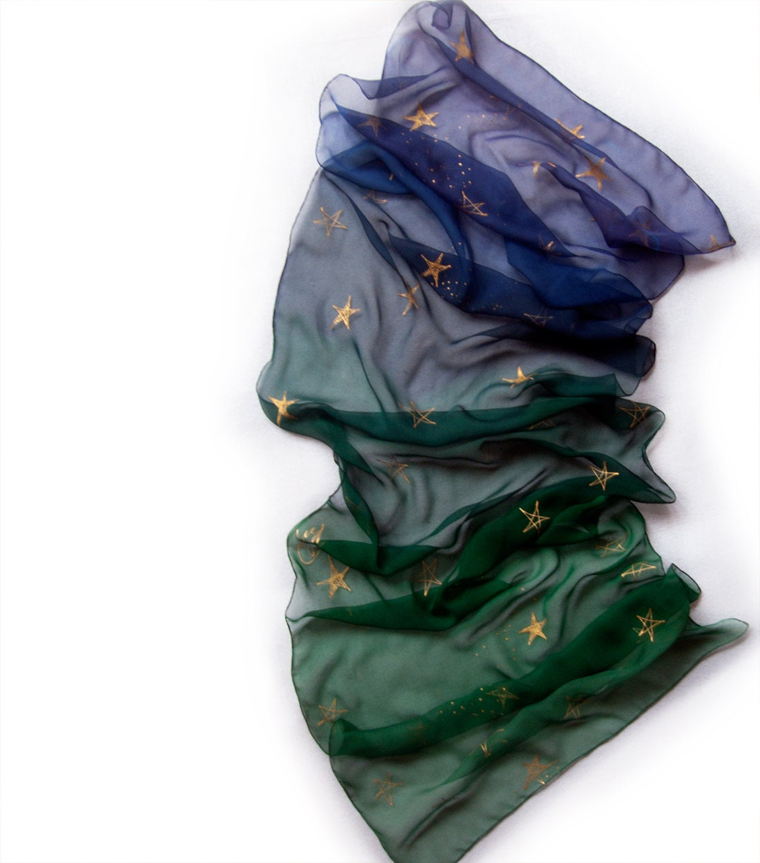 Ombre silk scarf. Hand painted obre scarf with golden stars. Emerald and blue long scarf. Silk chiffon scarf. Woman fashion scarf - klaradar