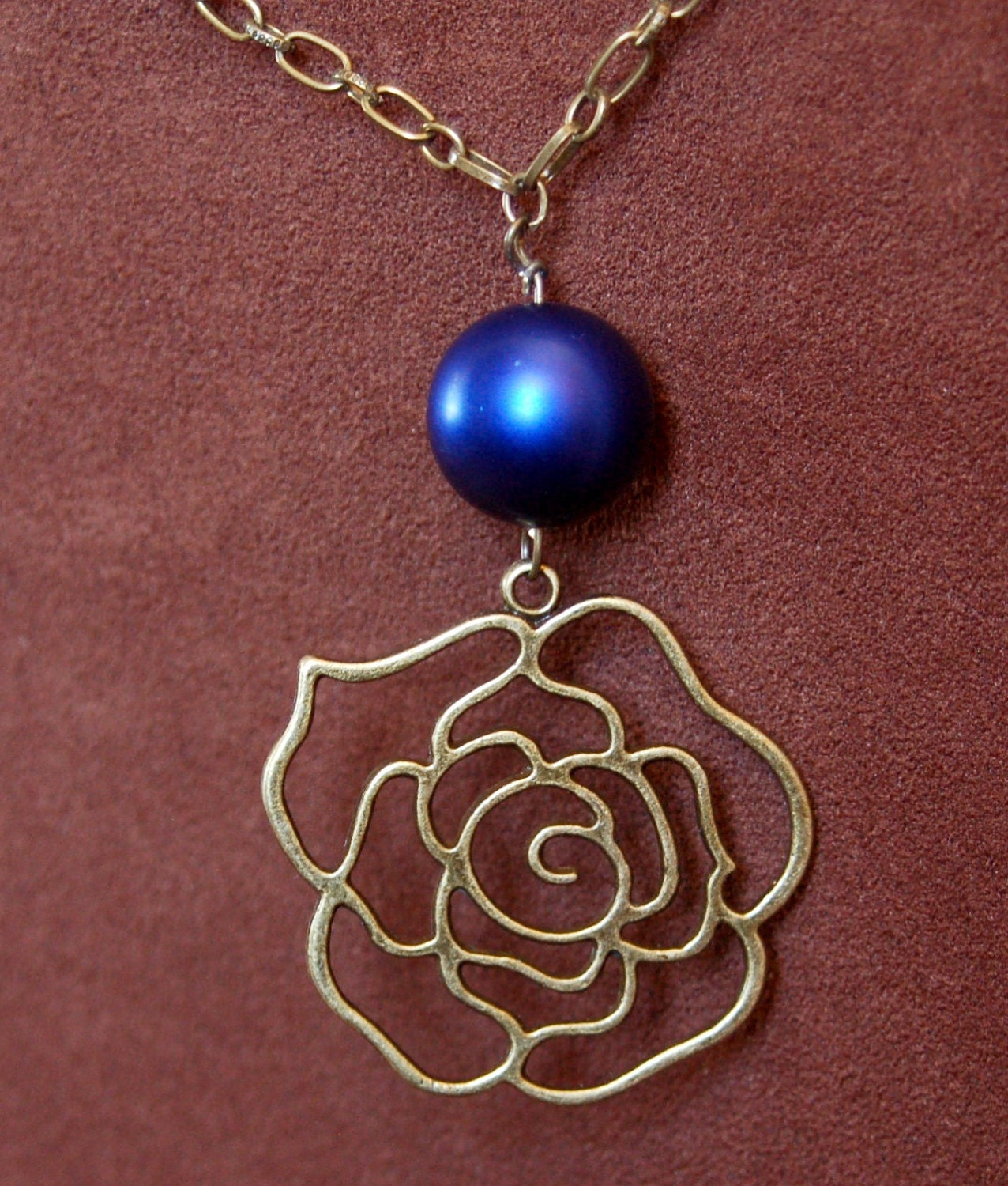 Antique Brass Rose Pendant & Navy Blue Round Glass Bead