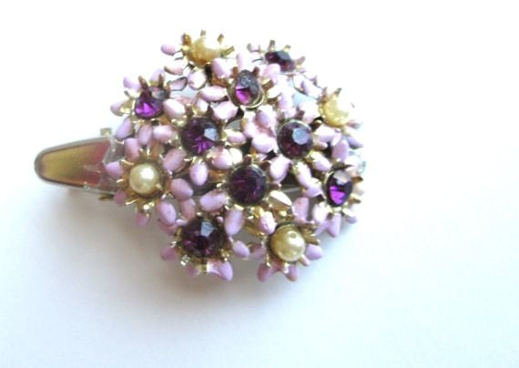Autumn Purple Hair Accessories Vintage Enamel Jewelry Rhinestones Clips - PlumePretty