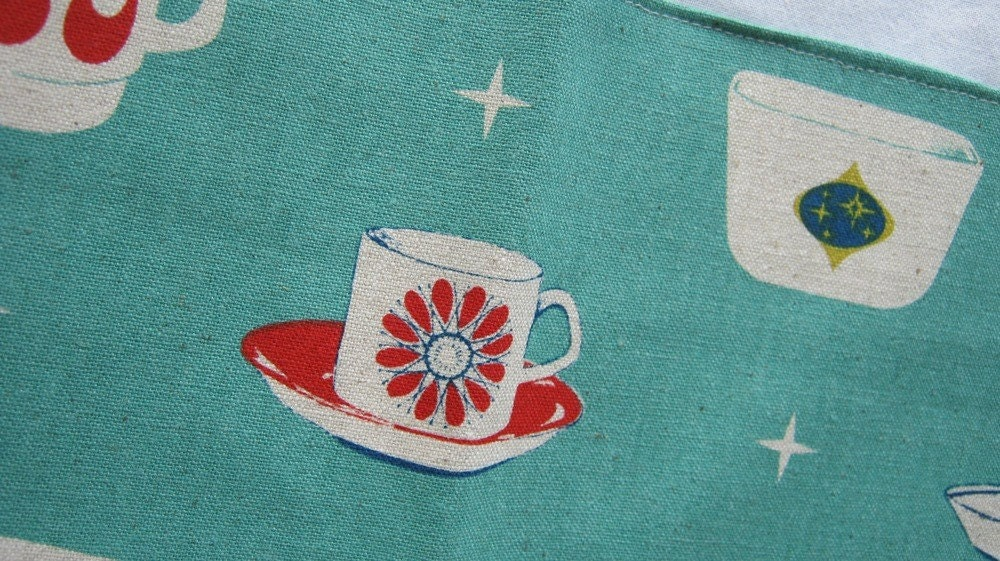 Tea Towel, Dish Towel, Kitchen Towel, Feedsack, Cotton, Dinnerware, Retro, Mid Century, Kitsch, Teal - enchantedsquirrel