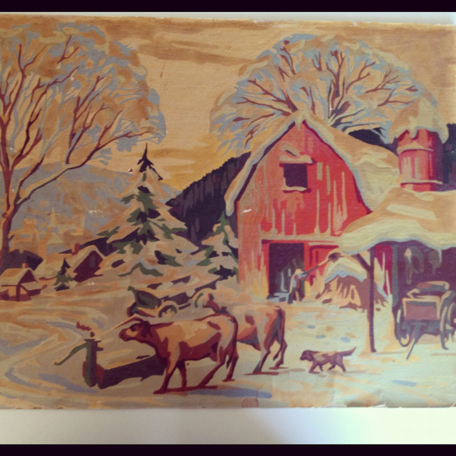 Vintage Paint By Number Barn Country Scene
