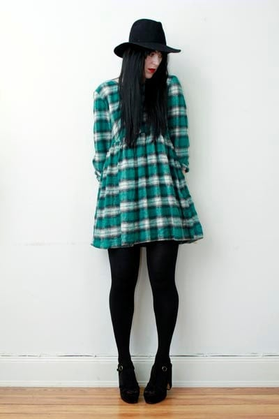 Vintage Tartan Plaid Nautical Smock Slouch Grunge Mini Dress