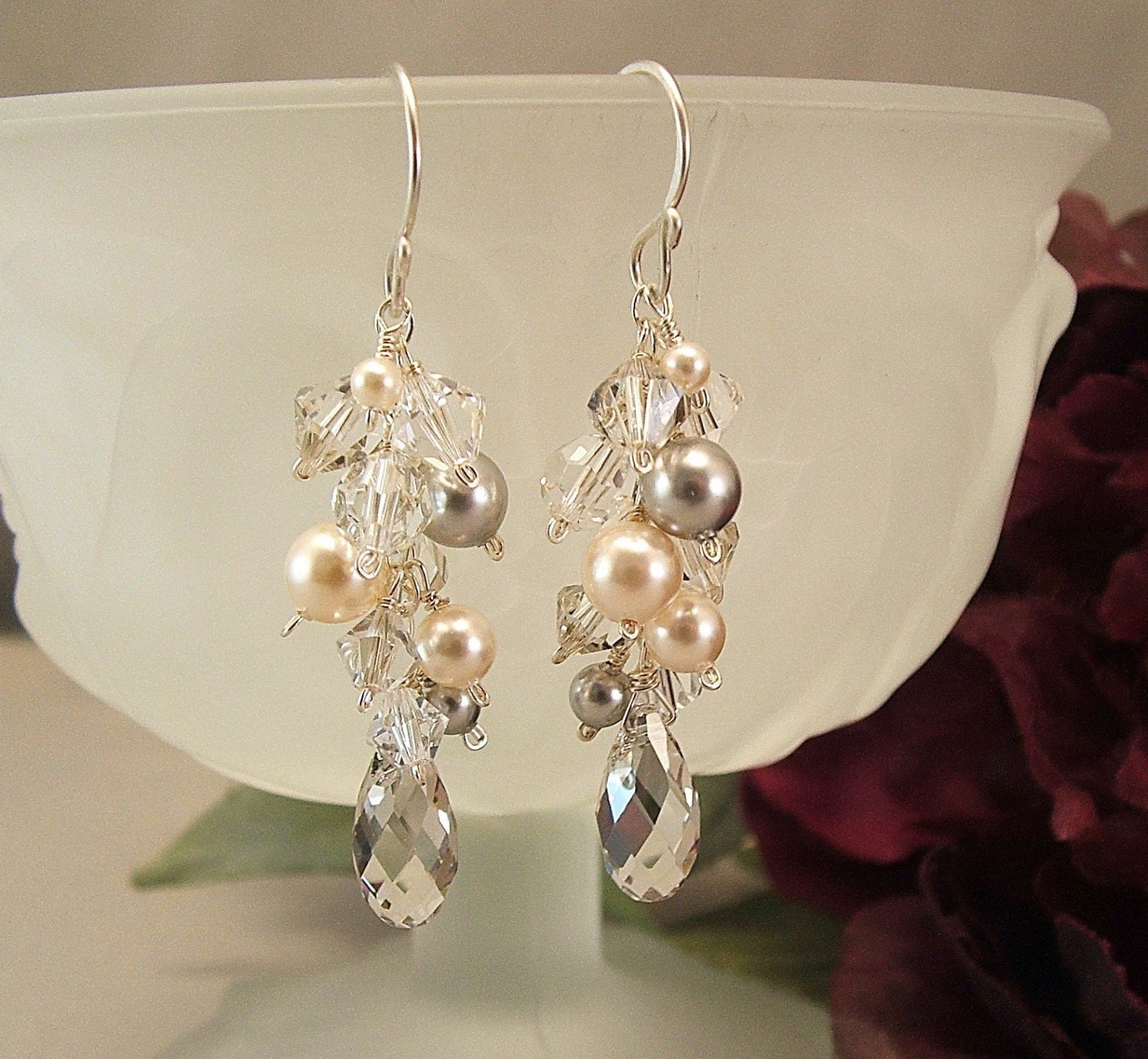 Silver Creme Collection Bridal Earrings Ivory Wedding by Handwired from etsy.com
