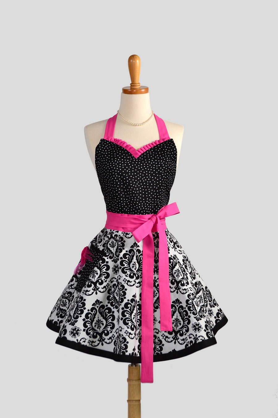 Sweetheart Retro Apron / Cute Womens Apron in Black and White Damask Black Dots and Hot Pink a Sexy Apron