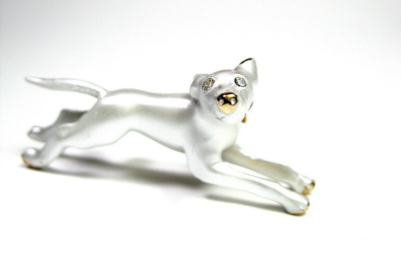 Vintage, 1950's, White, Dog, Mad Men Style, Brooch