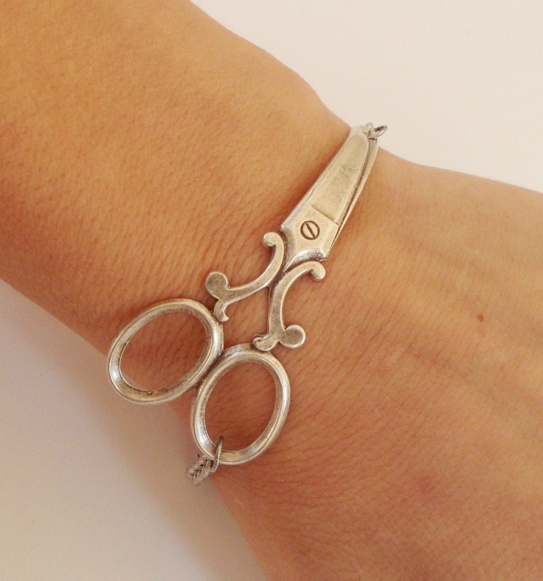 Steampunk Scissor Bracelet- Antique Silver Ox