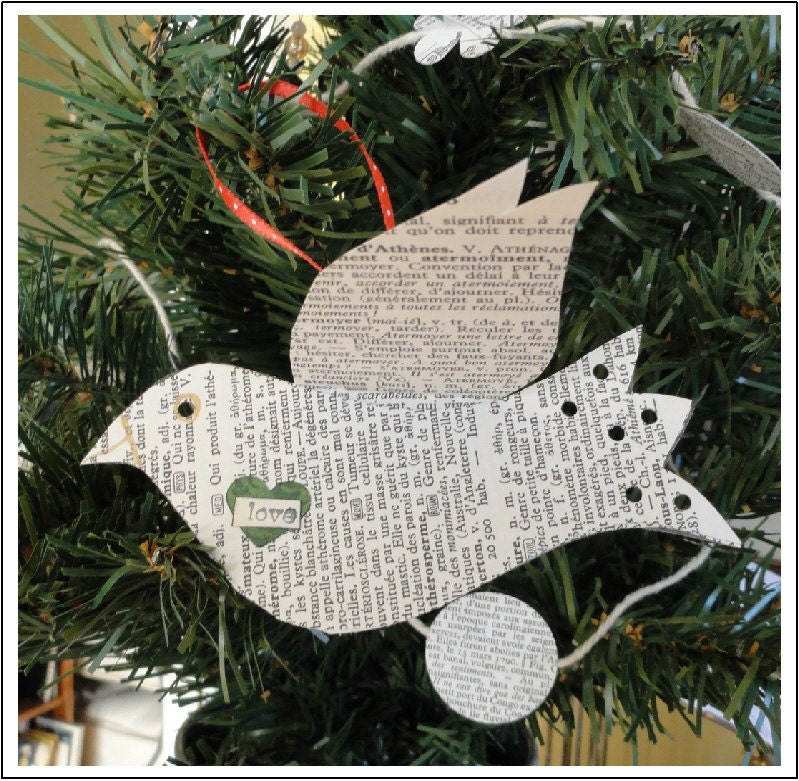 Paper Lovebirds Ornaments  Set of 3