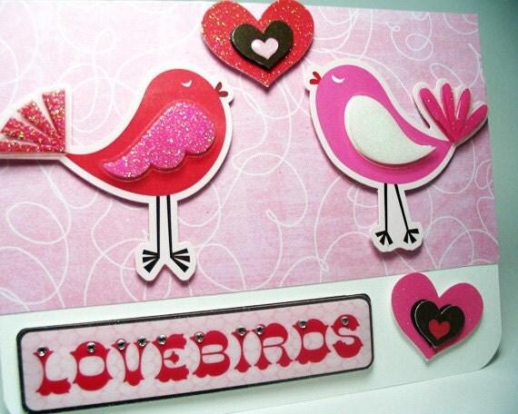 Handmade Valentine Card, Lovebirds