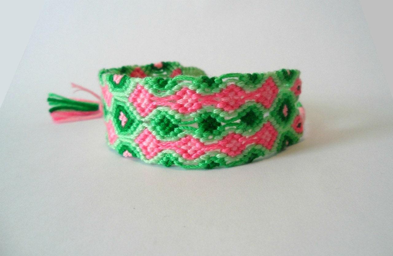 Watermelon - double wave friendship bracelet - reversible - PinkRoseBracelets