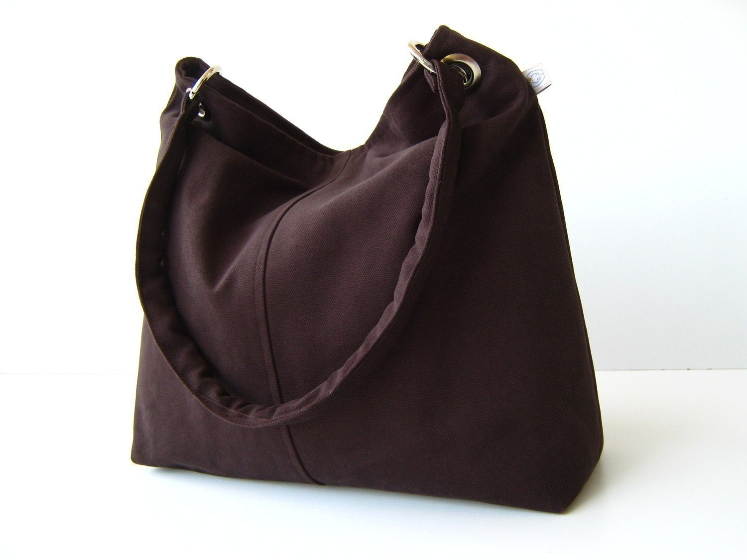 Classy Hobo Bag in Chocolate Brown - with top ZIPPER CLOSURE -- Large - bayanhippo