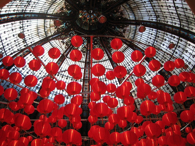 Red Balloons at the Galleries Lafayette Ceiling 8x10 Photograph - affordable home decor - Paris, France - rebeccaplotnick