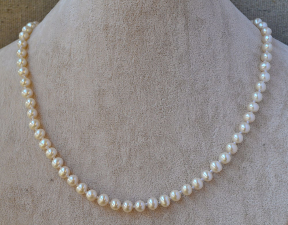 pearl necklace - 18 inches AAA 5-6mm Freshwater dark  ivory Pearl Necklace - Free Shipping