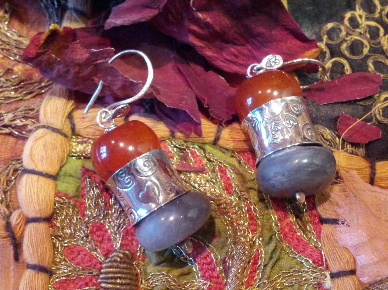 Labradorite and Red Orange Agate Bazaar Earrings