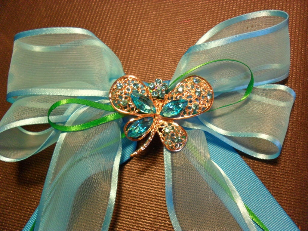 Blue bow with Gold and Blue butterfly pin / Barrette / Large Barrette