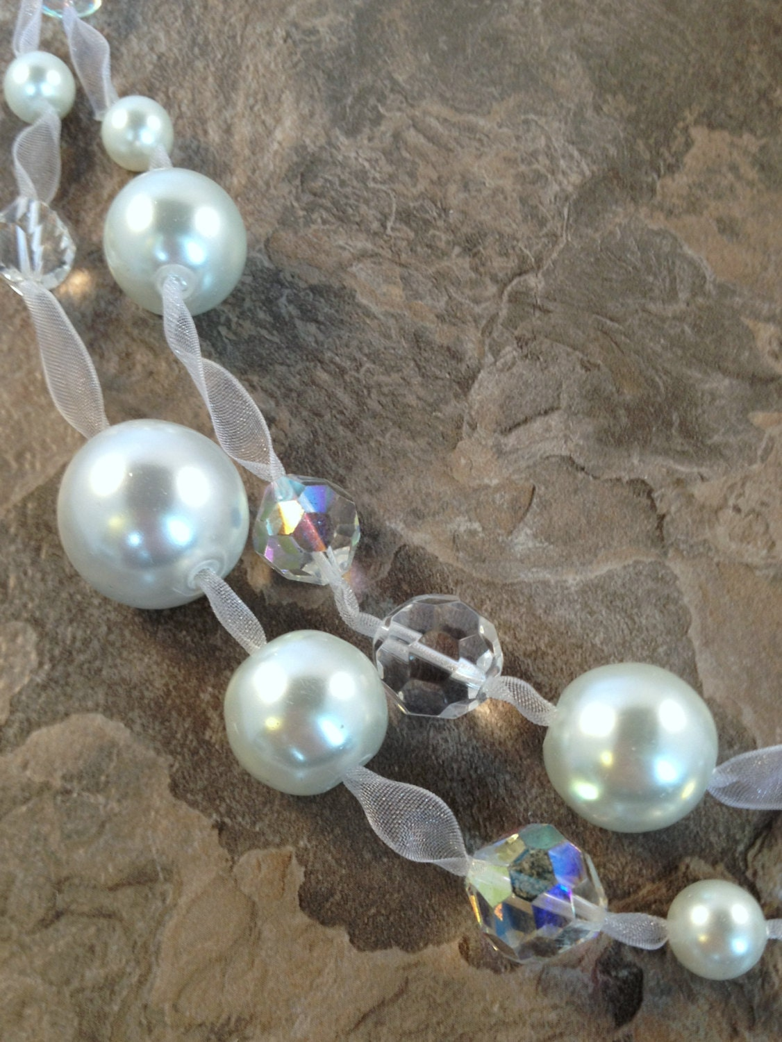 Multi Strand Pearl Necklace on White Organza Ribbon with Sterling Silver Clasp